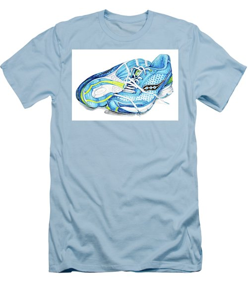 Blue Running Shoes Men's T-Shirt (Slim Fit) by Heidi Kriel