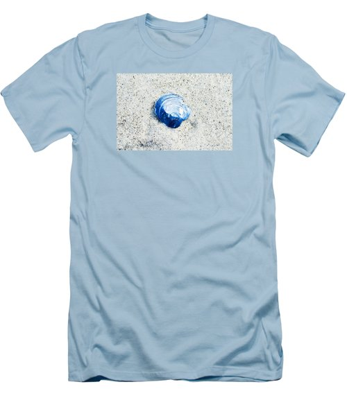 Men's T-Shirt (Slim Fit) featuring the painting Blue Seashell By Sharon Cummings by Sharon Cummings
