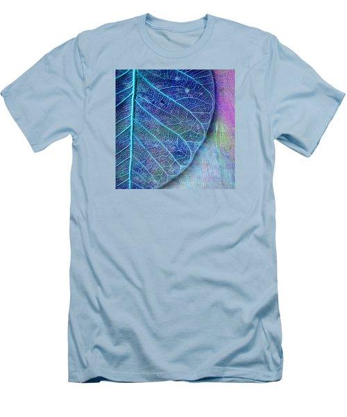 Blue Skeletal Leaf Men's T-Shirt (Slim Fit) by Bonnie Bruno