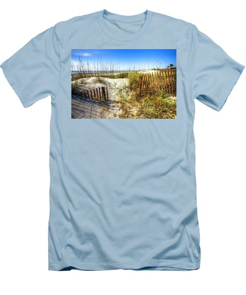 Men's T-Shirt (Slim Fit) featuring the photograph Blue Sky Dunes by Debra and Dave Vanderlaan