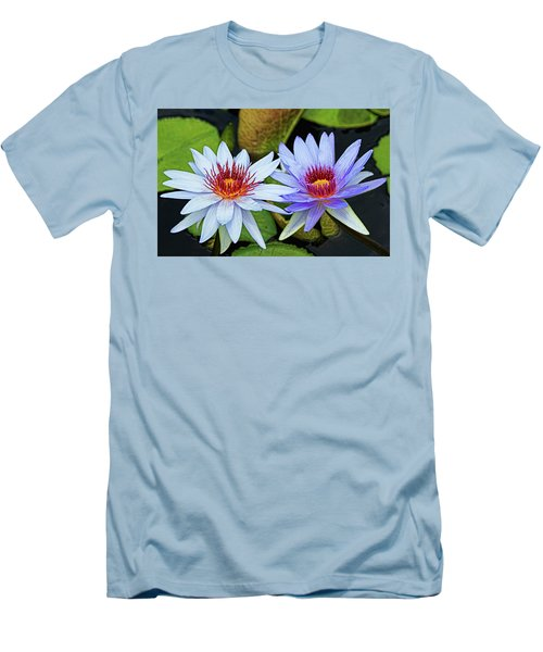 Men's T-Shirt (Slim Fit) featuring the photograph Blue Water Lilies by Judy Vincent