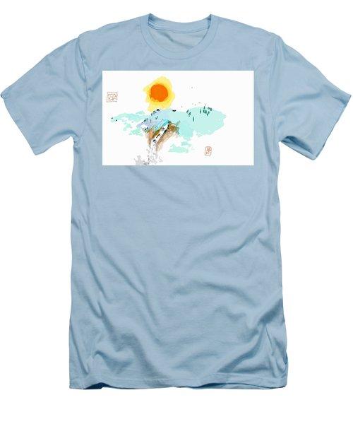 Blue Waterfalll Men's T-Shirt (Athletic Fit)