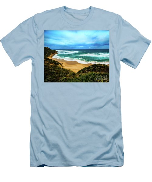 Men's T-Shirt (Slim Fit) featuring the photograph Blue Wave Beach by Perry Webster