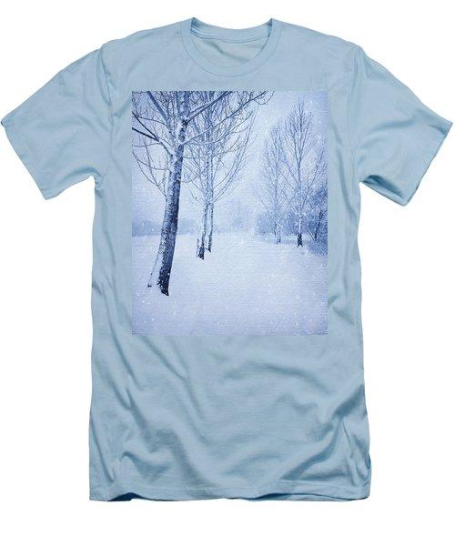 Blue Winter Path Men's T-Shirt (Slim Fit) by Theresa Tahara