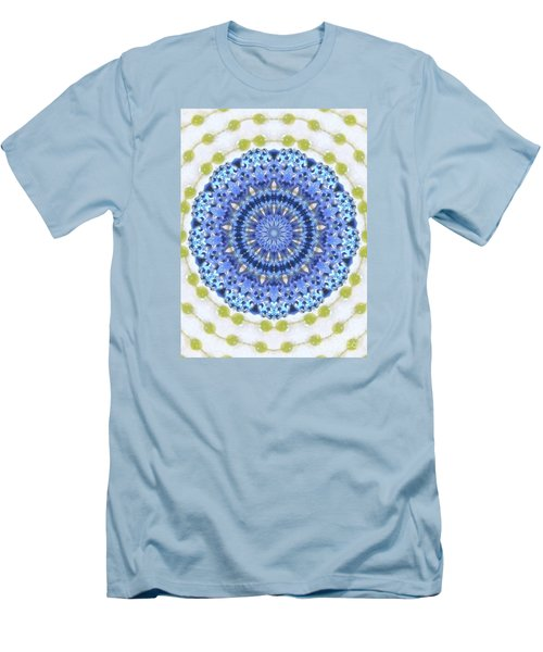 Blue With Green Dots Men's T-Shirt (Athletic Fit)