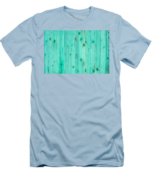 Men's T-Shirt (Slim Fit) featuring the photograph Blue Wooden Planks by John Williams