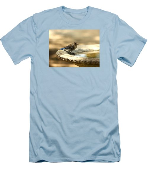 Men's T-Shirt (Slim Fit) featuring the photograph Bluebird Bath Time by Sheila Brown