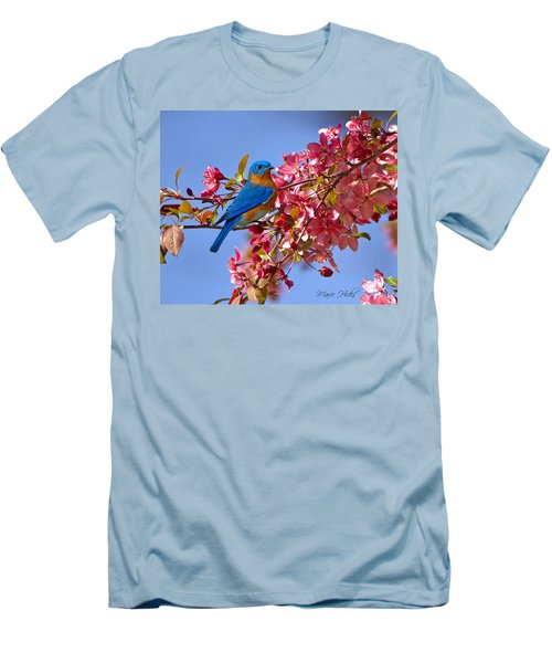 Bluebird In Apple Blossoms Men's T-Shirt (Slim Fit) by Marie Hicks