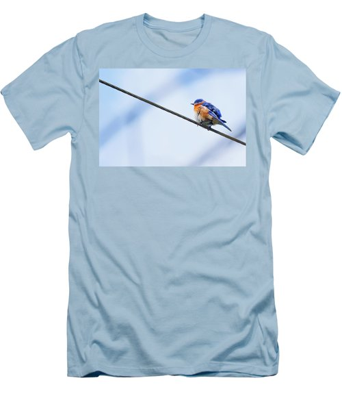 Men's T-Shirt (Slim Fit) featuring the photograph Bluebird Of Happiness by Linda Unger