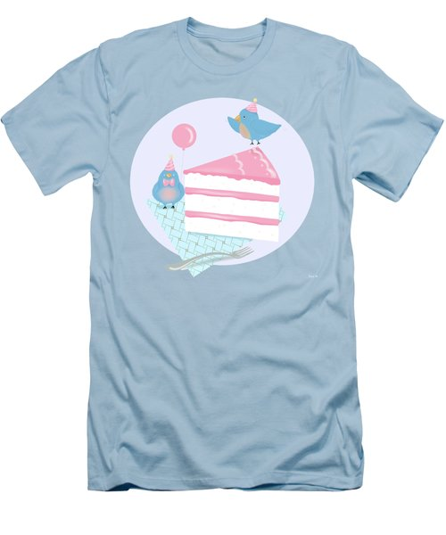 Bluebirds Love Birthday Cake Men's T-Shirt (Athletic Fit)
