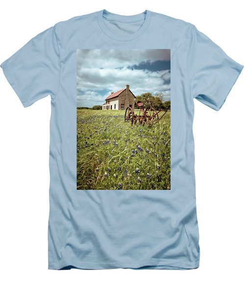 Men's T-Shirt (Slim Fit) featuring the photograph Bluebonnet Fields by Linda Unger