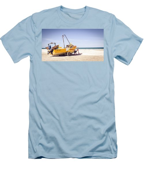 Boat And The Beach Men's T-Shirt (Slim Fit) by Silvia Bruno