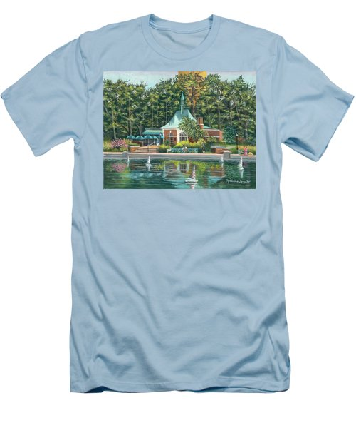Boathouse In Central Park, N.y. Men's T-Shirt (Slim Fit)