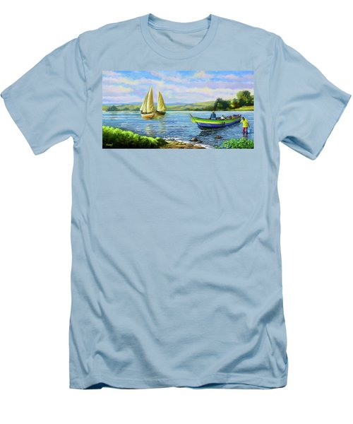 Men's T-Shirt (Slim Fit) featuring the painting Boats At Lake Victoria by Anthony Mwangi