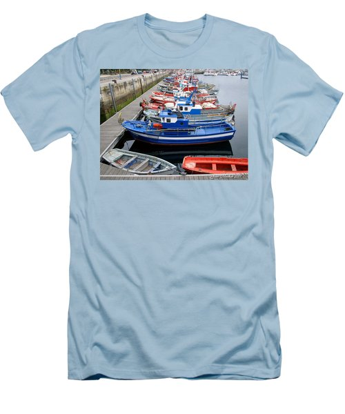 Men's T-Shirt (Slim Fit) featuring the photograph Boats In Norway by Joan  Minchak