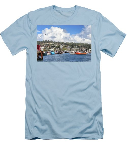 Boats In Yaquina Bay Men's T-Shirt (Slim Fit) by James Eddy
