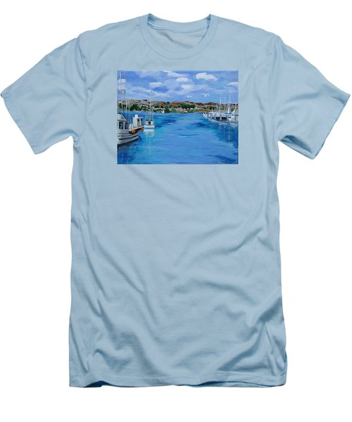 Bodega Bay From Spud Point Marina Men's T-Shirt (Slim Fit) by Mike Caitham
