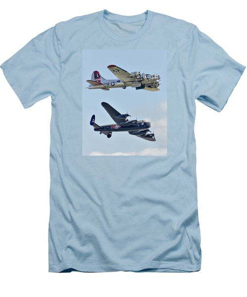 Boeing B-17g Flying Fortress And Avro Lancaster Men's T-Shirt (Slim Fit) by Alan Toepfer
