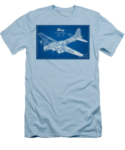 Men's T-Shirt (Slim Fit) featuring the drawing Boeing Flying Fortress by Pg Reproductions