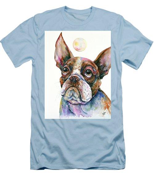 Men's T-Shirt (Slim Fit) featuring the painting Boston Terrier Watching A Soap Bubble by Zaira Dzhaubaeva