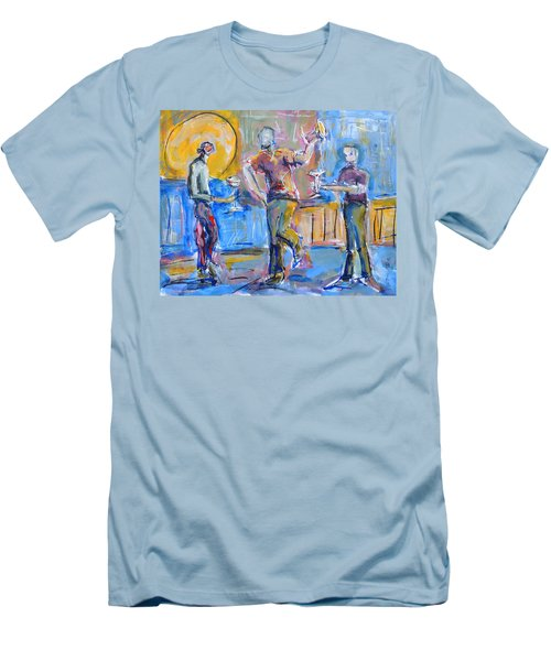 Men's T-Shirt (Slim Fit) featuring the painting Boys Night Out by Mary Schiros