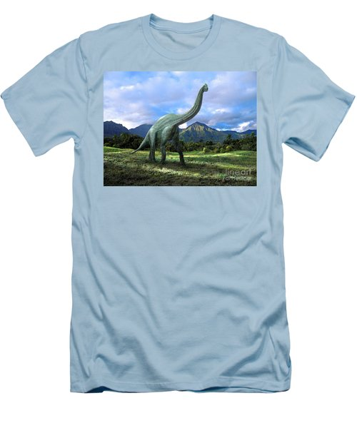 Men's T-Shirt (Slim Fit) featuring the mixed media Brachiosaurus In Meadow by Frank Wilson