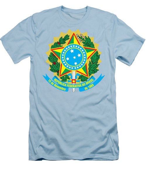 Brazil Coat Of Arms Men's T-Shirt (Slim Fit) by Movie Poster Prints