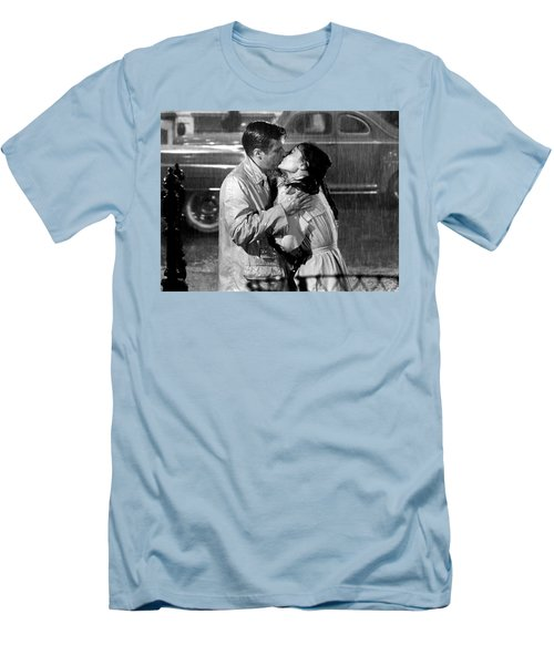 Men's T-Shirt (Athletic Fit) featuring the photograph Breakfast At Tiffanys Audrey Hepburn And George Peppard by R Muirhead Art