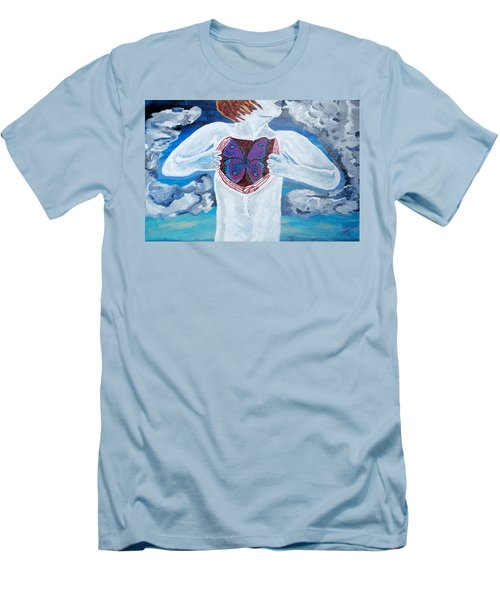 Men's T-Shirt (Slim Fit) featuring the painting Breathe Deep by Lisa Brandel