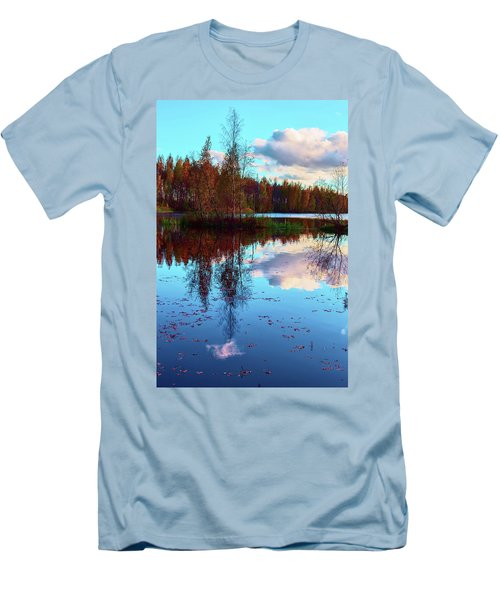 Bright Colors Of Autumn Reflected In The Still Waters Of A Beautiful Forest Lake Men's T-Shirt (Athletic Fit)