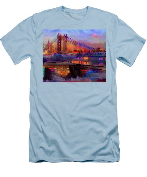 Men's T-Shirt (Athletic Fit) featuring the digital art Brooklyn Bridge by Iowan Stone-Flowers