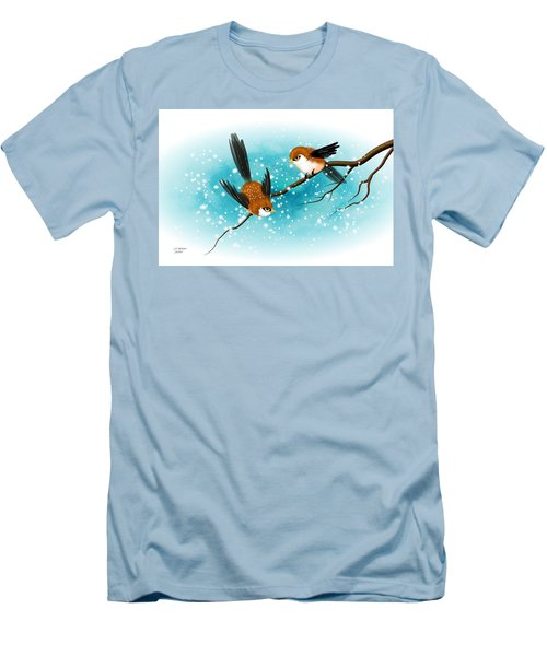 Men's T-Shirt (Slim Fit) featuring the digital art Brown Swallows In Winter by John Wills