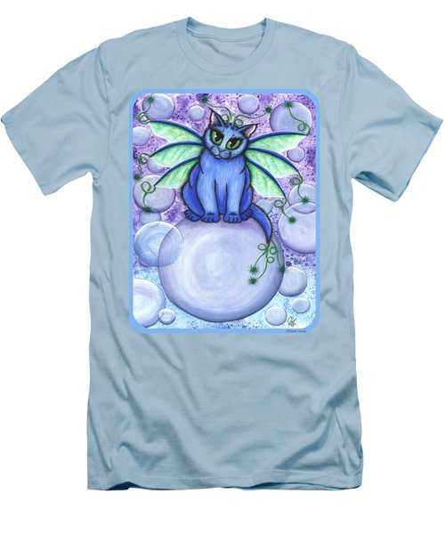 Men's T-Shirt (Slim Fit) featuring the painting Bubble Fairy Cat by Carrie Hawks