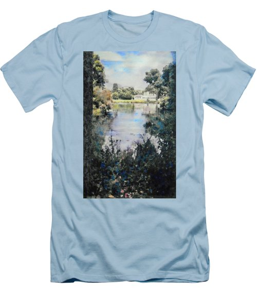 Men's T-Shirt (Slim Fit) featuring the painting Buckingham Palace Garden - No One by Richard James Digance