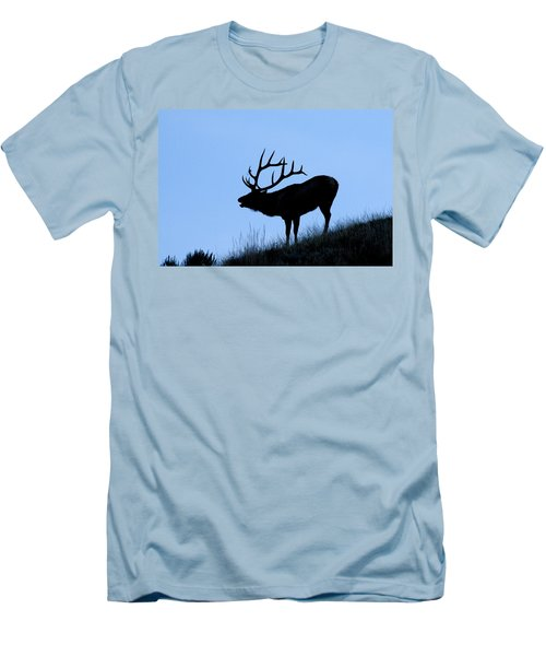 Bull Elk Silhouette Men's T-Shirt (Slim Fit) by Larry Ricker