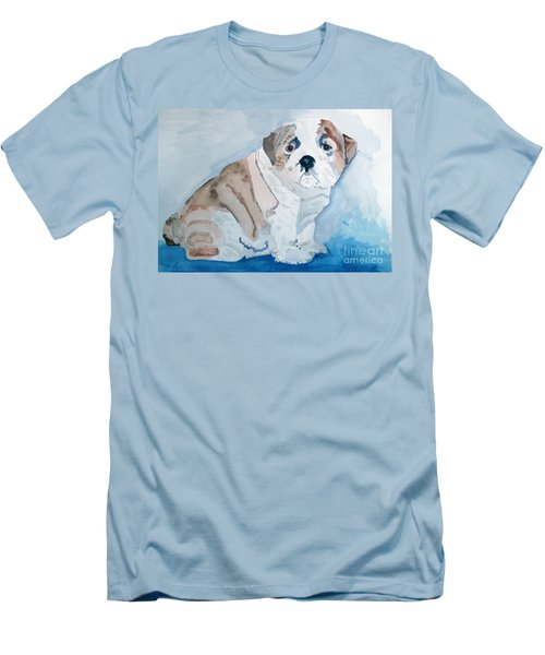 Bulldog Puppy Men's T-Shirt (Slim Fit) by Sandy McIntire