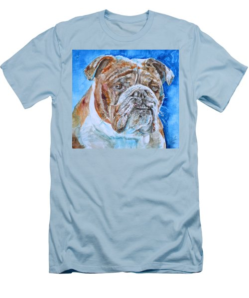 Men's T-Shirt (Slim Fit) featuring the painting Bulldog - Watercolor Portrait.8 by Fabrizio Cassetta