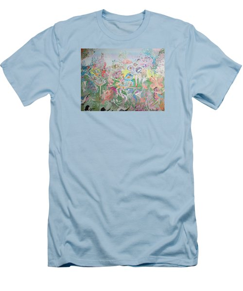 Men's T-Shirt (Slim Fit) featuring the painting Butterfly Ballet Reflectance by Judith Desrosiers