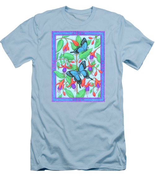 Butterfly Idyll-fuchsias Men's T-Shirt (Athletic Fit)