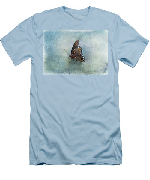 Men's T-Shirt (Slim Fit) featuring the photograph Butterfly On Blue by Sandy Keeton