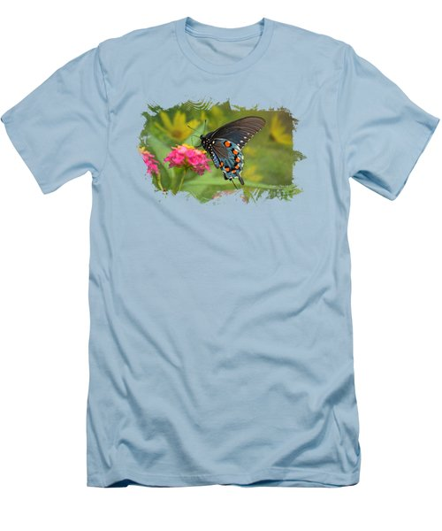 Butterfly On Lantana - Tee Shirt Design Men's T-Shirt (Slim Fit) by Debbie Portwood
