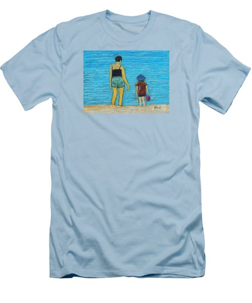 By The Sea Men's T-Shirt (Slim Fit) by Reb Frost