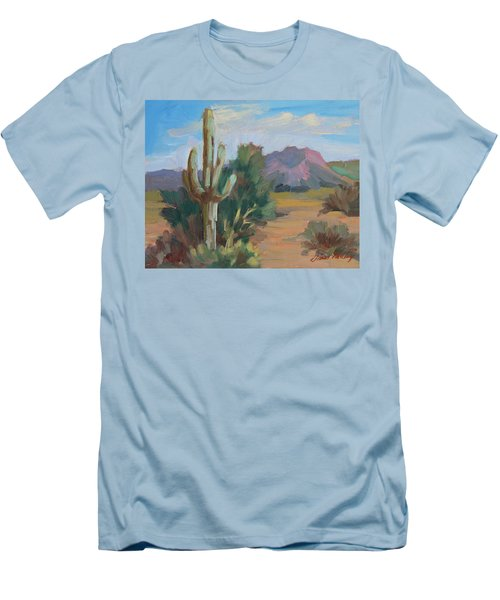 Men's T-Shirt (Slim Fit) featuring the painting Cactus By The Red Mountains by Diane McClary