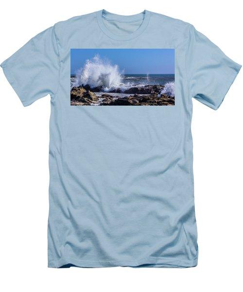 Wave Crashing On California Coast Men's T-Shirt (Athletic Fit)