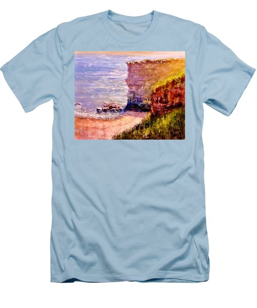 Men's T-Shirt (Slim Fit) featuring the painting California Cliffs.. by Cristina Mihailescu