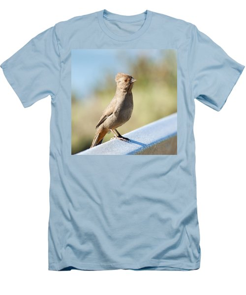 Men's T-Shirt (Slim Fit) featuring the photograph California Towhee ? by Daniel Hebard