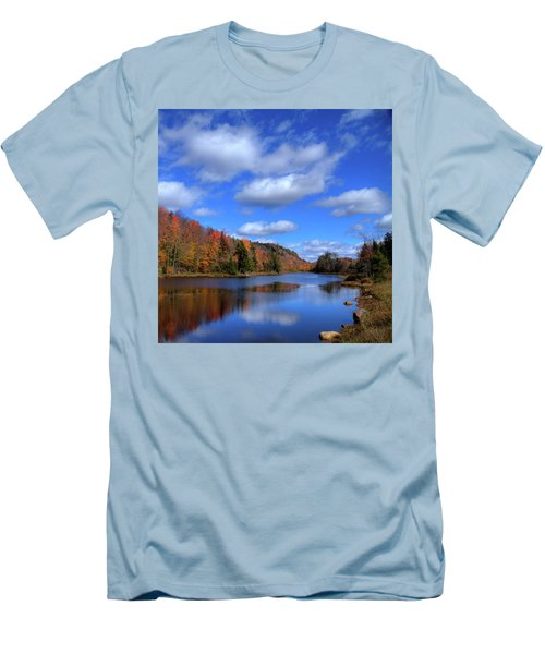 Calmness On Bald Mountain Pond Men's T-Shirt (Slim Fit) by David Patterson
