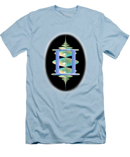Men's T-Shirt (Slim Fit) featuring the digital art Cameo Abstract In Aqua by Linda Phelps