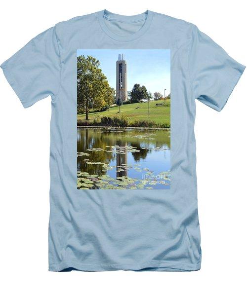 Campanile Reflection In Kansas Men's T-Shirt (Slim Fit) by Catherine Sherman