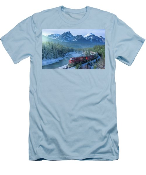 Canadian Pacific Railway Through The Rocky Mountains Men's T-Shirt (Slim Fit) by Rod Jellison